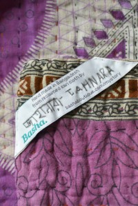 Maker name label on kantha quilt Decorator's Notebook