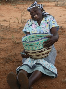 Mbite mbatha with her beautiful basket in Kisimenyi Decorator's Notebook