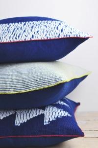 Shibori indigo cushions